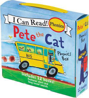 Picture of Pete The Cat Phonics Box Includes 12 Mini-Books Featuring Short and Long Vowel Sounds