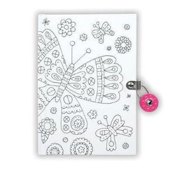 Picture of Butterfly Color-In Locked Diary