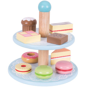 Picture of Cake stand with 9 Cakes - Wooden Pretend Toys - BigJigs