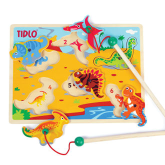 Picture of Tidlo Wooden Magnetic Dino Fun with Rods, Magnet Board Toy