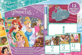 Picture of Disney Princess - First Look and Find Book and 13 Giant Double-Sided Write-and-Erase Wipe Clear Activity Cards - PI Kids