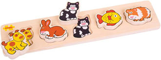Picture of Bigjigs Toys Wooden Chunky Lift and Match Pets Puzzle