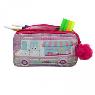 Picture of Smily Kiddos Fancy Donut Pencil Case - Teddy Theme Pink