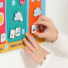 """Picture of THE FABRIC PANEL """"YESTERDAY, TODAY, TOMORROW""""- Baby Play - Ludi - French Kids Calendar - Blue"""