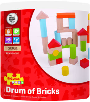 Picture of Tub of Bricks - Wooden Colorful Bricks - BigJigs