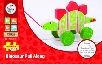 Picture of Wooden Stegosaurus Pull Along - Wooden Pull Along - Dinosaurs - BigJigs