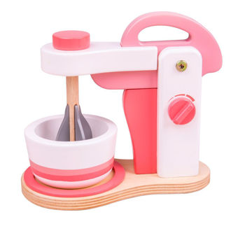 Picture of Wooden Pink Food Mixer - Pretend Toy - BigJigs