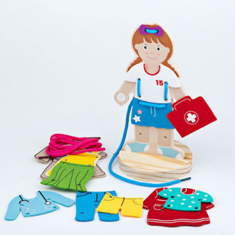 Picture of Lacing Dress - Up Girl - Wooden Educational Toys - BigJigs