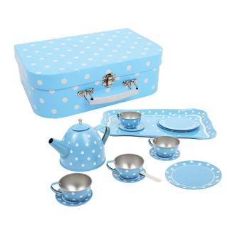 Picture of Blue Polka Dot Tin Tea Set - Pretend Play Set - Kitchen Toys - Tea Party - BigJigs