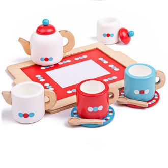Picture of Wooden Colorful Tea Tray - Wooden Pretend Play - BigJigs