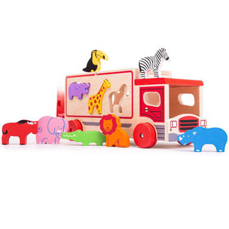 Picture of Safari Sorting Lorry - Wooden Play Cars - Wooden Trucks - BigJigs