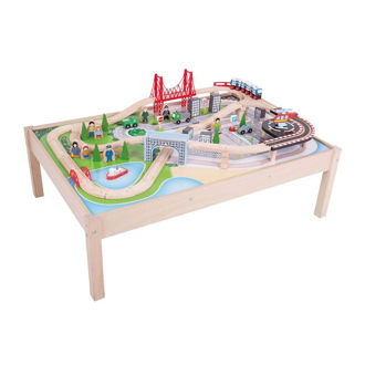 Picture of City Train Set and Table - Wooden Train Table - BigJigs